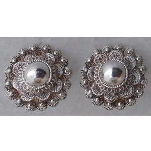 Jewelry - Victorian Sterling Silver Flower Filigree Earrings